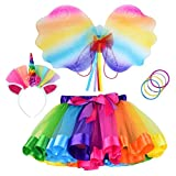 Cocojeci Little Girls Layered Rainbow Tutu Skirts with Wings Unicorn Headband and Bracelets (Rainbow+Wing, L)
