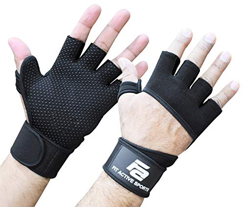 Fit Active Sports RX2 Weight Lifting Workout Gloves with Built in Wrist Wraps (Black, M)