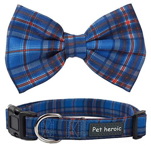 Collare per cani e gatti con papillon a quadretti - Farfallino scozzese Regolabile, Comodo e Durevole per Cani e Gatti - Collare per Cani e Gatti di taglia piccola, media e grande in 3 stili
