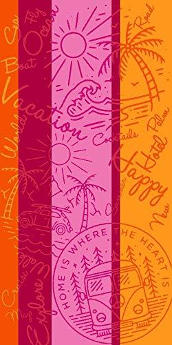 Lashuma Badehandtuch Lanzarote 75 x 150 cm, Strandtuch mit Sommermotiv, Gestreiftes Frottee Badetuch Gelb Pink Rosa Orange