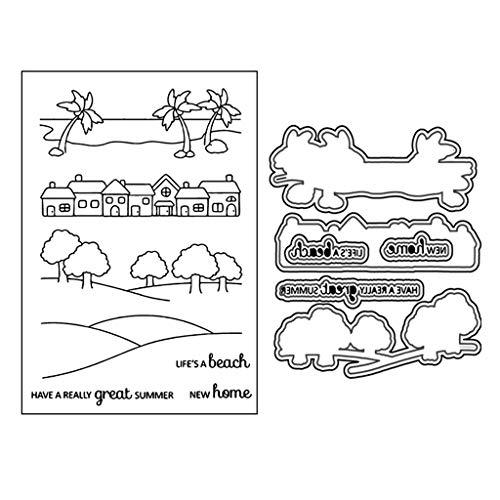Lottoy Great Summer Silikon Stempel und Stanzschablonen Set für DIY Kartenherstellung Scrapbooking Album, Fotoalbum Dekoration(Cutting Dies&Clear Stamp Seal)
