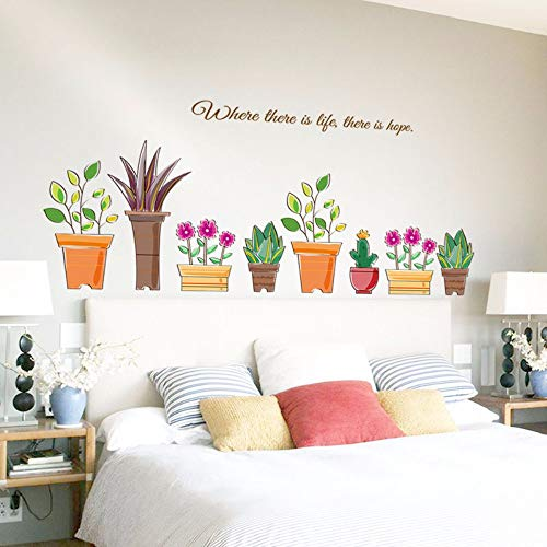 Runinstickers wandstickers potplanten muur sticker bloemen woonkamer slaapkamer raam badkamer sticker wandschilderijen huis decor zelfklevende folie