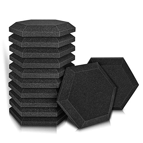 "12 Pack - Acoustic Foam Panels, 2"" X 12"" X 12"" Hexagon Studio Wedge Tiles, Sound Panels wedges Soundproof Sound Insulation Absorbing (Black)"