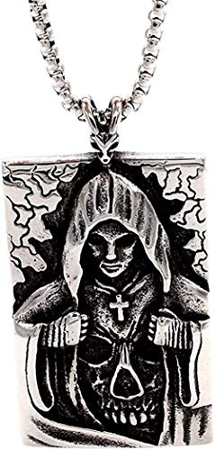 WYDSFWL Collar Hombres Esqueleto Cruz Colgante Retro Plata Negro Acero Inoxidable Asistente Religión Cráneo Cruz Colgante Collar Joyería Regalos