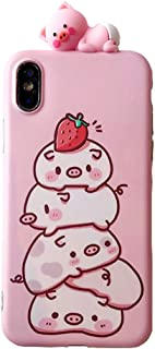 UnnFiko Piglet Phone Case Compatible with iPhone 7/ iPhone 8, Cute 3D Cartoon Animal Soft Silicone Protective Case for Girls Women (Strawberry Piglet, iPhone 7/8)