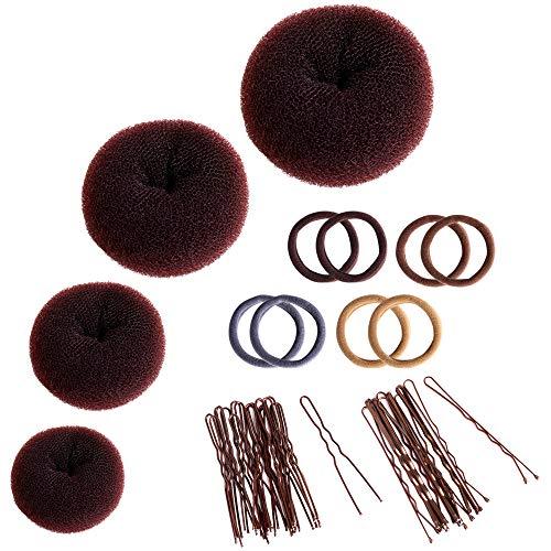 Donut Haarknoten-Set, Zingso 4 Stück Frauen Mädchen Haaraccessoires Ring-Stil Mesh Donut Haarknoten Shaper Maker Set mit 8 Stück Haargummibändern, 30 Stück Haarnadeln für Tanz, Ballett, Chignon