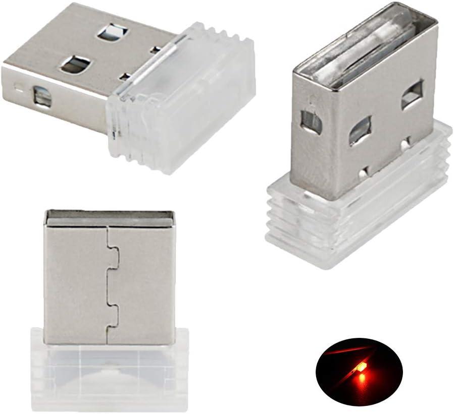 Bevinsee Mini USB Led Light for Car Plug-in 5V Lamp Interior Ambient Lighting Kit,Red,3pcs