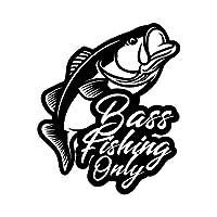 BASS FISHING ONLY カッティング ステッカー ブラック 黒 シール 切り文字 ブラックバス バス釣り フィッシング