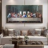 Da Vinci- Pinturas en lienzo de la Última Cena en la pared Carteles e impresiones artísticos Arte famoso Jesús Cuadro de pared Decoración del hogar 30x60cm Marco interno