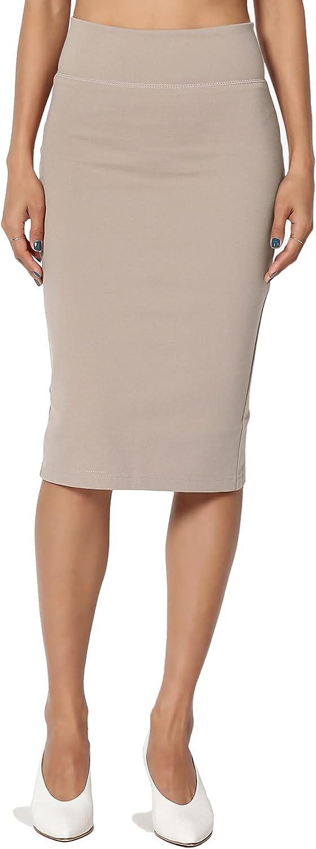 TheMogan Premium Ponte Stretch Office High Waist Knee Length Midi Pencil Skirt