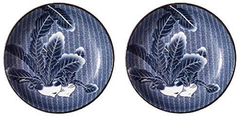 2 juegos de vajilla de cerámica japonesa de estilo japonés, platos hondos para el hogar con vidriado-8 pulgadas de color azul 2