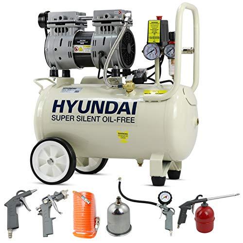 Hyundai 750 Watt, Direct Drive Electric 5.2CFM 100PSI, Super Silent Air Compressor Motor, 24 Litre Steel Tank, Oil Free, Quick Release Fittings UK Plug-White & 5 Piece Accessories Kit, 230 V