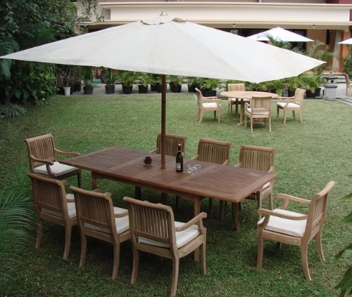 """Big Sale Giva Grade-A Teak Wood luxurious 9 pc Dining Set : 94"""" Double Extension Rectangle Table and 8 Arm / Captain Chairs"""