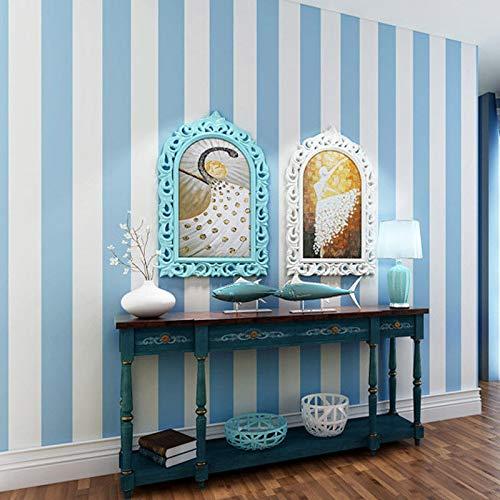 XPY-Wallpaper Moderne minimalistische Vliestapete Streifen blau und weiß Mittelmeer vertikale Streifen Tapete Wohnzimmer Schlafzimmer Kinderzimmer Tapete