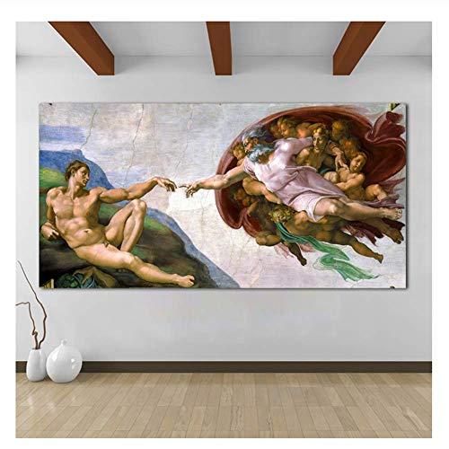 XuFan Miguel Ángel Creación de Adán Lienzo Arte Clásico Pintura al óleo Cuadros de Pared para Sala de Estar Imágenes-50x100cm Sin Marco