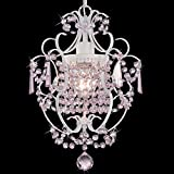PAPAYA Pink Crystals Mini Chandelier Lighting for gilrs Room Decor 1-Bulb White Iron Bathroom Chandeliers
