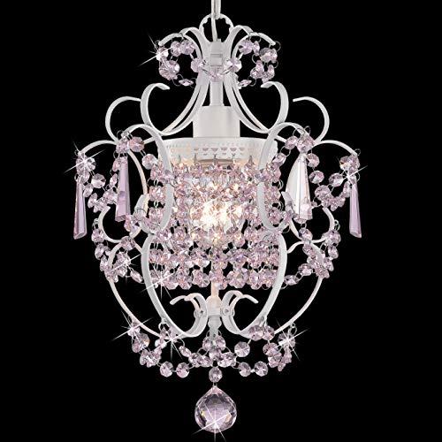 PAPAYA Pink Crystals Mini Chandelier Lighting for gilrs Room Decor 1-Bulb White Iron Bathroom Chandeliers