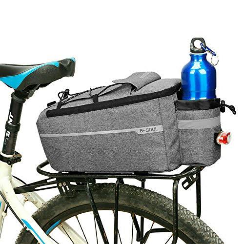 HITECHLIFE Fahrrad-gepäckträger-Tasche wasserdichte Fahrrad-rücksitz-frachttasche Fahrrad-Kofferraum-Tragetasche Mit Rücklicht Und Schultergurt 7/8/10 / 11l - Schwarz/Grau