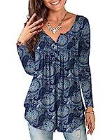 a.Jesdani 3X Womens Plus Size Tops Long Sleeve Shirts for Women Multi Blue