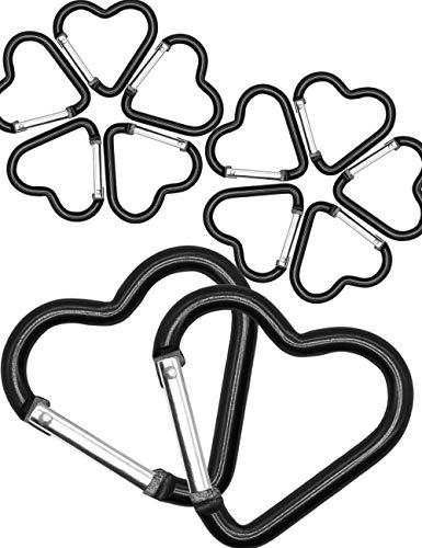 Outdoor Saxx® - 10 stuks aluminium hart-karabijnhaak vriendschapskarabijnhaak | voor sieraden, bruiloft, decoratie, | 10-delige set, zwart