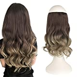 FESHFEN Extension Fil Invisible Cheveux Naturel, 36 cm Ondulé Extension de Cheveux Fil Wire in Hair Extension à Fil Cheveux Synthétique Rajout Cheveux pour Femme, 125 g