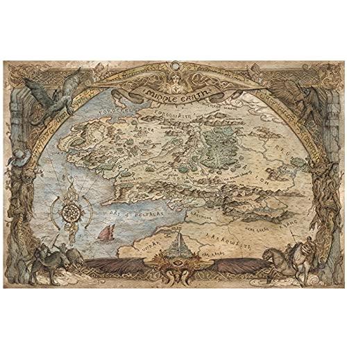 Westeros y Essos Treasure World Map Art Canvas Painting Art Posters e impresiones en la pared para la sala de estar Decoración del hogar -60x90cm Sin marco