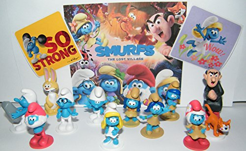 The Lost Village Smurfs Deluxe Figure Toy Set of 14 with Figures and Stickers Featuring The Classic Smurfs and Many New Smurf Characters Including Bunny Bucky!