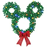 Gemmy Disney/Pixar 30in Hanging Mickey Mouse Christmas Wreath with Multicolor LED Lights