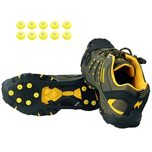 LONGLUOSI Ice Grips,Crampons Non-Slip Ice & Snow Grips Cleat Over Shoe/Boot Traction Cleat Rubber Spikes Anti Slip 10 Steel Studs Slip-on Stretch Footwear for Hiking and Walking(L)