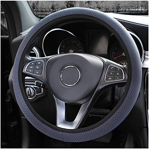 MRTIOO 3D Massage Silicone Particles Soft Breathable Microfiber Ice Silk Elastic Steering Wheel Cover, Cold or Hot Universal 15 inch, Fit Suvs, Vans, sedans, Cars, Trucks - Gray