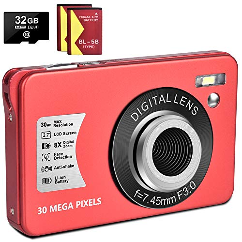 1080P Digital Camera 30MP Camera Compact Camera 2.7 inch Pocket Camera,8X Digital Zoom Rechargeable Small Digital Cameras for Kids, Students, Teens,Beginners with 32GB SD Card and 2 Batteries