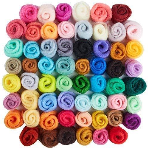 60 Colors Wool Roving - Felting Wool - Yarn Roving - Roving Wool - Needle Felting Wool - Fibre Wool - Discovering DIY