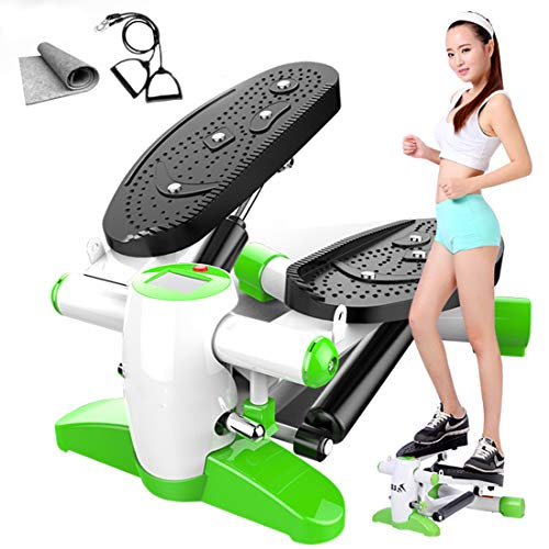Stepper Oefening Machine, Up-Down-Stepper, Met Power Touwen en Mat voor Home Fitness,Green