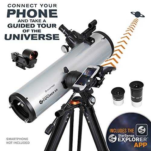 Celestron – StarSense Explorer DX 130AZ Smartphone App-Enabled Telescope – Works with StarSense App to Help You Find Stars, Planets & More – 130mm Newtonian Reflector – iPhone/Android Compatible