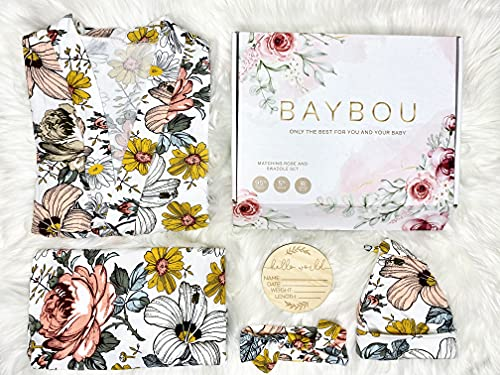 Baybou Robe and Swaddle Set Matching Mommy and Me Set Baby Girl Swaddle Blanket Gift 5-Piece Set (Vintage Floral, S/M)