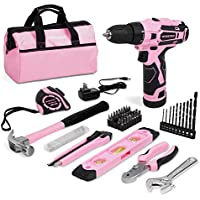 Workpro 61 Pieces 12V Pink Cordless Drill and Home Tool Kit with 14