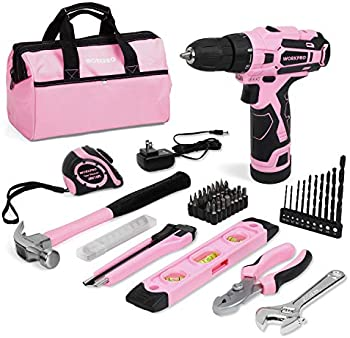 Workpro 61 Pieces 12V Pink Cordless Drill and Home Tool Kit