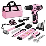 WORKPRO 12V Pink Cordless Drill and Home Tool Kit, 61 Pieces Hand Tool for DIY, Home Maintenance, 14-inch Storage Bag Included