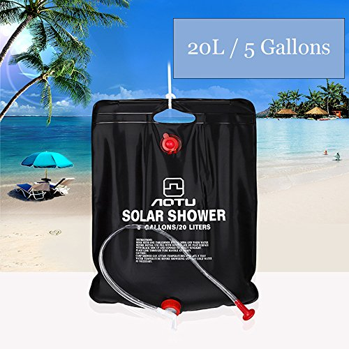 Solar Shower Bag,5 gallons/20L Solar Heating Premium Camping Shower Bag with Removable Hose and On-off Switch-able Shower Head Camping Shower Bag for Climbing Hiking Fishing Hunting Beach Trips
