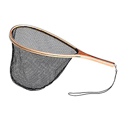 Lixada Fly Fishing Landing Net Trout Bass Soft Rubber Mesh Wooden Handle Frame Catch and Release Fish Net Portable Lightweight