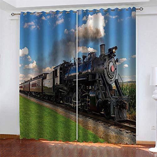 CYNJDKK 2 Paneles Cortinas Opacos Tren a Vapor Aislantes Térmicas Cortina con Ojales 3D Impresas Habitación Infantil Dormitorio Estilo Decorativo 2X 117x 138 cm (LxA)