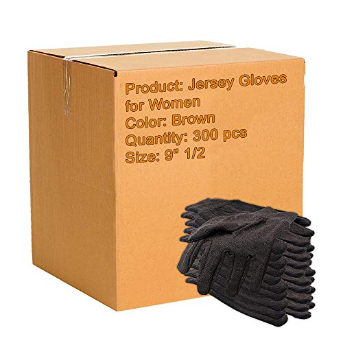 300 Pack Brown Jersey Gloves for Women 9' 1/2. Reusable Washable Glove with Elastic Knit Wrist. Cotton Polyester Gloves 10 Oz. Plain Breathable Gloves. Industrial Work Gloves. Comfortable fit.