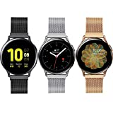 3 Pack Compatible with Samsung Galaxy Watch 3 41mm/Active 2 40mm 44mm/Active/ Galaxy Watch 42mm Bands,20mm Adjustable Stainless Steel Mesh Loop Replacement Wristband Strap Bracelet for Women Men