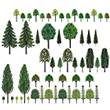ALIANG Adornos de jardín 55PCS Modelos de árboles Mixtos Set Miniatura Diorama Árboles Tren Ferrocarril Paisaje Paisaje Árbol Botella Cepillo Árboles de Pino para micropaisaje Jardín de Hadas Manua