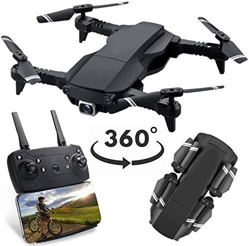 Cámara GPS 4K gran angular, giroscopio 4 ejes con video en vivo, retención altitud RC, drones abatibles 360 °, modo sin cabeza, LED drone HD 2.4Ghz, helicóptero 8 minutos tiempo vuelo, negro