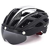 VICTGAOL Casco Bicicleta Helmet Bici Ciclismo para Adulto con Luz Trasera LED Visera Extraíble Hombres Mujeres Adultos de Bicicleta para Montar (Negro)