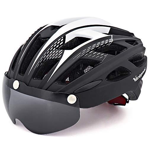VICTGOAL Casco Bici con Visiera Magnetica Casco da Ciclismo Unisex per Bici da Corsa All'aperto Sicurezza Sportiva Casco da Bicicletta Superleggero Regolabile 57-61 cm (Nero)
