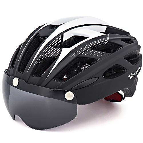 Victgoal Cycle Bike Helmet with Detachable Magnetic Goggles Visor Shield for Women Men, Cycling Mountain & Road Bicycle Helmets Adjustable Adult Safety Protection and Breathable (New Black)