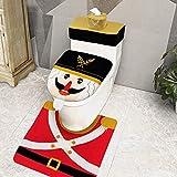 TURNMEON 4 Pieces Christmas Toilet Seat Cover Decorations, 3D Beard Nutcrackers Funny Christmas Toilet Seat Lid Cover and Rug Set Christmas Decoration Bathroom Home Indoor Xmas Decor
