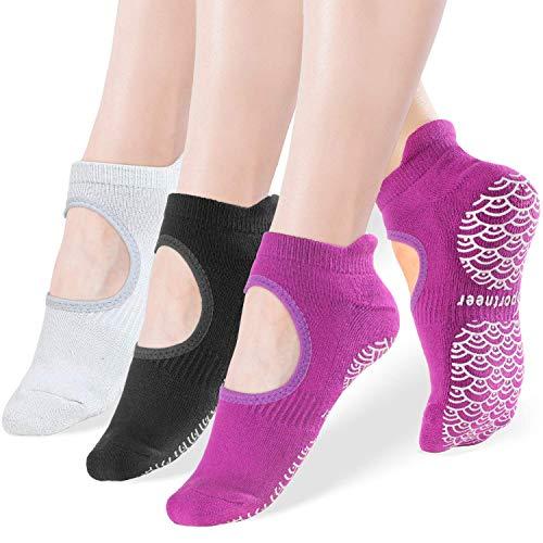 Calcetines de yoga antideslizantes para mujeres. Calcetines con agarres, antideslizantes para Pilates, Ballet, Fitness, etc… Calcetines para realizar ejercicios descalzos, paquete de 3, tallas 5-11